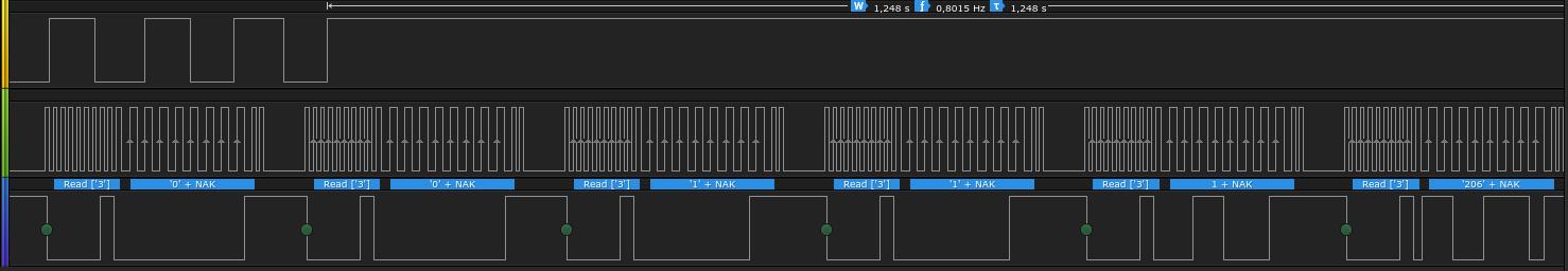 i2c decoding of '1' keypress